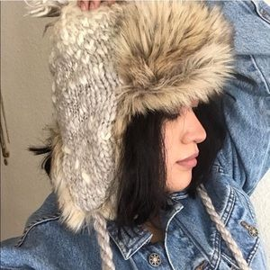 Women's Knitted Winter Trapper Hat Faux Fur OS